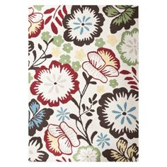 Floral Rug at Target with turquoise, red, green, yellow, browns. Reviews say it's thick & soft and colors are bright & beautiful.