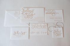 REAL WEDDING: Kelly and Scott | Champagne Letterpress Wedding Invitations