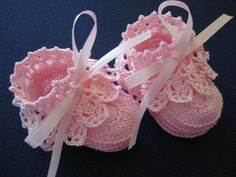 Crochet Baby Booties Pink Antique Lace Newborn