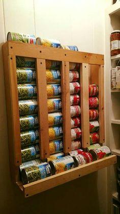 Canned good storage Canned Good Storage, Pantry Storage, Diy Storage, Food Storage, Diy Wood Projects, Home Projects, Woodworking Projects, Home Organization Hacks, Kitchen Organization