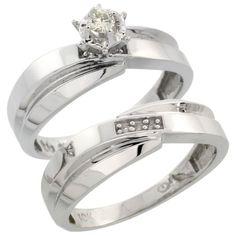 Sterling Silver Ladies 2Piece Diamond Engagement Wedding Ring Set