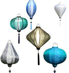 Lampionnen, blauwe, witte en zilveren lampionnen.