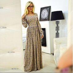 Купить товарСтиль лето женщины длинная макси пляж платье ну вечеринку полный рукава с круглым вырезом воротник минимальный уровень пола в категории Платьяна AliExpress.