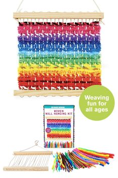 Woven Wall Hanging Kit | Kid Made Modern Turn fuzzy sticks into a brightly colored weaving with this kit that's a great introduction to the art of weaving. Makes a perfect work of art to display in your child's room.