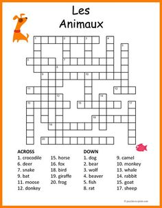 Help your students or your kids (or yourself) learn the French words for different animals with this free printable crossword puzzle. The words are given in English and the puzzler must give the equivalent in French. French Language Lessons, French Language Learning, French Lessons, French Flashcards, French Worksheets, Learning French For Kids, Teaching French, French Games For Kids, Word Puzzles