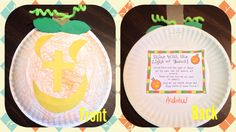 Pumpkin Craft(Matthew 5:16) Materials needed: paper plate, crayons, scissors, glue, hole punch, green pipe cleaner, construction paper(brown, green, yellow) and poem. Have the children color the paper plate orange. I made the shapes for the face, stems and leaves on construction paper and let them cut them out and glue them on. Twirl the pipe cleaner around a pencil or crayon to make the vine. Punch a hole out of the  stem and thread it through. On the back, we glued a Christian Pumpkin…