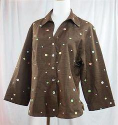 SILKLAND Women's Blouse Lined Dark Brown Polka Dot 100 Silk 3 4 Sleeve XL Shirt | eBay $29.95