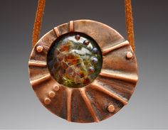 Boro blown glass, foldformed copper, rivets