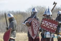 770th anniversary of the Battle of the Ice reenacted in Russia - Culture - Citizenside.  Shield designs interesting, geometric patterns.