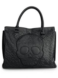 """Black on Black Skull Lattice"" Tote Handbag by Loungefly (Black) #inked #inkedshop #inkedmagazine #handbag #tote"