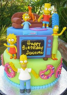 The Simpsons Cake - The Simpsons Party Crazy Cakes, Fancy Cakes, Cute Cakes, Unique Cakes, Creative Cakes, Bolo Xbox, Bolo Simpsons, Gateaux Cake, Different Cakes