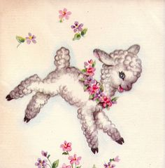 vintage 50s easter lamb notelet from poshtottydesignz. I remember this from when I was very young. pj