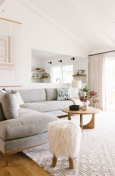 Samantha Gluck's Bright, Minimal Scandi-Inspired House Tour Samantha Gluck Emily Henderson Living Room Scandinavian Inspired Living Room Sectional, Cozy Living Rooms, My Living Room, Living Room Interior, Home And Living, Modern Living, Small Living, Sectional Sofa, Contemporary Living Rooms