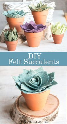 Best Decor Hacks : Description No green thumbs needed with these potted felt succulents. Make your own felt succulent mini pots with our printable patterns. Cute Crafts, Easy Crafts, Easy Diy, Crafts For Kids, Crafts With Felt, Diy And Crafts, Diy Craft Projects, Decor Crafts, Fleece Projects