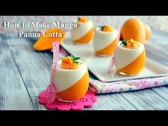 In this video, I& show you step-by-step on how to make this gorgeous and delicious Mango Panna Cotta, a very popular Italian dessert that is perfect to bea. Small Desserts, Mini Desserts, Just Desserts, Dessert Recipes, Drink Recipes, Dinner Recipes, Mango Mousse, Mango Panna Cotta, Fancy Desserts