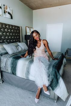 the perfect dress for hosting a holiday party. Grown Up Bedroom, Dream Bedroom, Holiday Outfits, Holiday Dresses, Old Headboard, Hanging Paintings, Black Lamps, Grey And Gold, Bedroom Furniture Sets