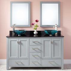 "60"" Modero Double Vessel Sink Vanity - Chilled Gray"
