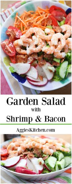 This Garden Salad With Shrimp And Bacon Will Definitely Get You Back In The Salad It's Is Chock Full Of The Best Crunchy, Colorful Veggies Plus Protein To Fill You Up And Keep You Feeling Good. By means of Aggieskitchen Seafood Salad, Seafood Pasta, Shrimp Salad, Seafood Dinner, Pasta Salad, Seafood Alfredo, Bacon Pasta, Bacon Bacon, Bacon Recipes