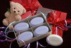 Tell here you love her this Valentine's day with a gift that says i love you - engraved scented soap from New Hope Soap