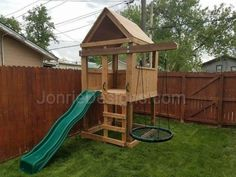 #5520-25 - 5'x5' Clubhouse with wooden roof, 4' Deck height, Ladder entry, Standard slide, Cantilever with Web swing