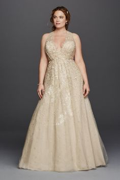 Extra Length Tulle Plus Size Melissa Sweet Wedding Dress with Floral Detail - Champagne (Yellow), 18W
