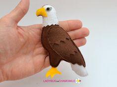 Felt BALD EAGLE stuffed felt Bald Eagle magnet or ornament