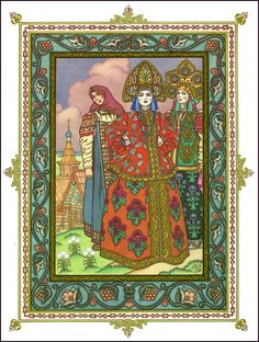 Russian Fairy Tale illustration with Russian Princesses
