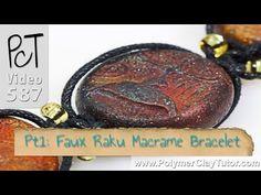 Faux Raku Macrame Bracelet | Polymer Clay Tutor Vol-078 #polymerclaytutorials #polymerclayjewelry #macrame http://www.beadsandbeading.com/blog/faux-raku-macrame-bracelet-polymer-clay-tute-vol-078/19154/