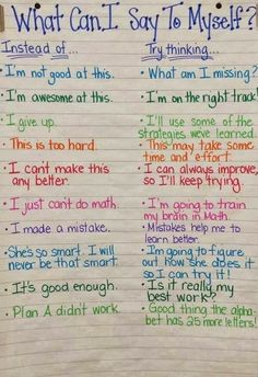 "File this under Growth MIndset tools! This is a wonderful anchor chart. Perhaps one of the few times I might include the ""what not to do"" when coaching, teaching or modeling! Self-coaching is a great tool to prepare the mind for the journey ahead. Book Study, Anchor Charts, Social Skills, Social Work, Classroom Management, Behavior Management, Stress Management, Elementary Schools, Montessori Elementary"