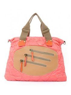 Colorblock Zippered Trimmed Leatherette Handbag