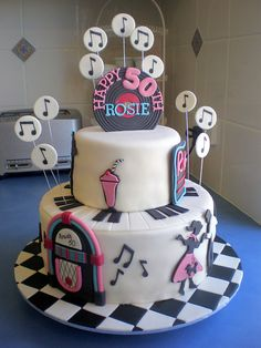 50s theme Cake idea, could use for bridal shower cake