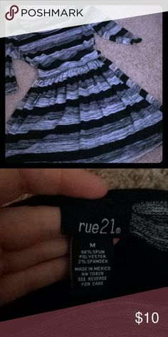Striped Dress This dress is super cute and breathable! It is so easy to dress up or down. It is in great condition with no rips, snags, or stains. Pair it with a colorful pair of heels or tights for a splash of color! Rue 21 Dresses Midi