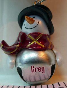 GREG Jingle Bell Mini Snowman Personalized Christmas Ornament