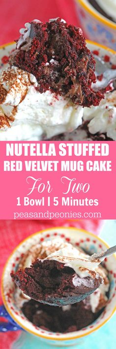 5 minutes, few ingredients and 1 bowl is what you need to make this Nutella Stuffed Red Velvet Mug Cake that has been perfectly portioned for two! (Chocolate Mousse For Two) Desserts For A Crowd, Easy Desserts, Delicious Desserts, Dessert Recipes, Yummy Food, Mug Recipes, Homemade Cake Recipes, Yummy Treats, Sweet Treats
