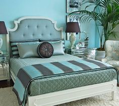 Turquoise and Brown Bedroom