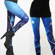 Womens-Blue-Floral-Wind-Digital-Print-Leggings-Slim-Stretchy-Pants-Trousers-USA
