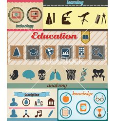 Set of retro education icons with vintage vector on VectorStock®