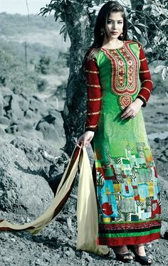 Picture of Glorious Green, Aqua Blue and Red Color Salwar Kameez