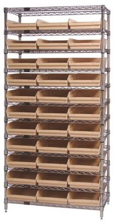 "Quantum Storage Systems WR12-116IV 12-Tier Complete Wire Shelving System with 33 QSB116 Ivory Bins, Chrome Finish, 24"" Width x 36"" Length x 74"" Height by Quantum. $742.63. Genuine Quantum modular wire systems offer a unique combination of shelf and post sizes in a variety of finishes to compliment any application. The split sleeve and grooved numbered posts allow for easy and quick assembly. The all welded shelf construction is supported with architectural wire trusses to provi..."