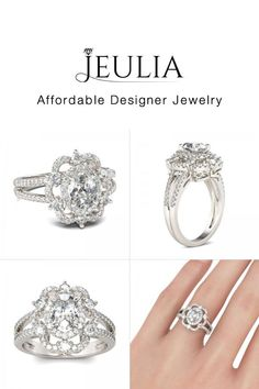 #Jeulia JEULIA Floral Halo Engagement Ring Split Shank Oval Cut Created . Discover more stunning Halo Rings from Jeulia.com. Shop Now!