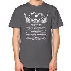 For dad in heaven Unisex T-Shirt (on man)