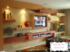Family Room Designs with TV | ... Interior Idea : Modern Family Room Design With Wooden TV Set Ideas