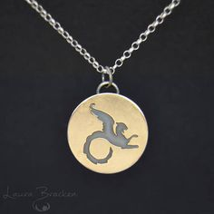 BrackenDesigns - Small Saw Pierced Wyvern Dragon Pendant Necklace in Mixed Metal Silver and Gold #etsymetalteam