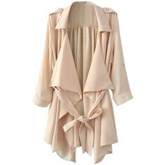 Choies Beige Half Sleeve Chiffon Coat With Belt ($30) ❤ liked on Polyvore featuring outerwear, coats, jackets, beige, coat with belt, chiffon coat, belted coat, beige coat and belt coat