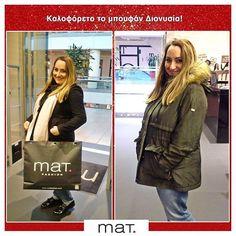 Η Διονυσία, μία από τις 5 νικήτριες του διαγωνισμού #matXmas παρέλαβε το δώρο της επιλογής της, το χακί μπουφάν, που της πηγαίνει απίστευτα και ευχόμαστε να απολαύσει! #matfashion #fashionista #ootd #style #inspiration