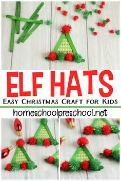 Looking for a super simple craft to do with your little ones this Christmas? Check out this cute elf craft that is simple enough for tots and preschoolers. Craft Projects For Kids, Fun Crafts For Kids, Toddler Crafts, Simple Crafts, Kids Diy, Summer Crafts, Project Ideas, Christmas Arts And Crafts, Diy Christmas Ornaments