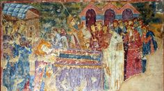 Death of the queen-mother Ana Dandolo (granddaughter of Enrico Dandolo, Venetian doge). Her son, serbian king Stephen Uros I mouring together with his wife, queen Helen D'Anjou (kneeling beside her mother in law), their children: prince Dragutin, princess Brncha, princ Milutin and entire serbian court. Queen-mothers stepson bishop Sava II praying for her soul in presence of Chirst, and Virgin Mary (on the opposite side). Monastery Sopocani, XIII century, Serbia. Queen Mother, Medieval Times, Medieval Clothing, Serbian, Virgin Mary, Doge, Archaeology, Collars, Law