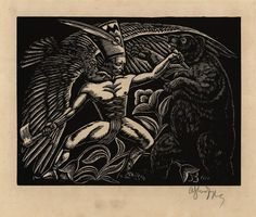 """Władysław Skoczylas, """"Walka z niedźwiedziem"""", 1923, Muzeum ASP w Warszawie (źródło: materiały prasowe)"""
