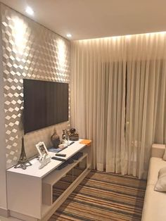 Fantastic modern apartment decoration in Brasilia - lives Living Room Tv, Living Room Modern, Interior Design Living Room, Home And Living, Living Room Designs, Modern Apartment Decor, Apartment Living, Sala Grande, House Design