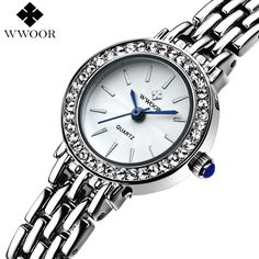 Top Brand Women Quartz Bracelet Watch Women Dress Watches Ladies Fashion Casual Silver Rhinestones Wrist Watch Relogio Feminino